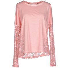 Only T-shirt (70 CAD) ❤ liked on Polyvore featuring tops, t-shirts, pink, pink tee, pink long sleeve t shirt, pink t shirt, lace t shirt and pocket t shirts