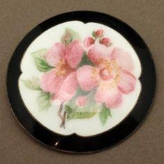 Pink Flowers Pin Silver Enamel Clement Berg