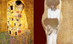 'The Kiss' L: Gustav Klimt, 1908 R: Numéro Thailand, 'Aurum' by Thananon Thanakornkarn