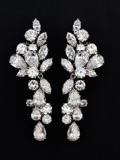 Diamond and platinum ear pendants by Van Cleef & Arpels