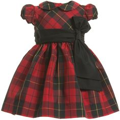 Ralph Lauren baby girls gorgeous red tartan party dress made from soft satin with a smart ruched black sash that ties into a bow at the front and buttons to fasten at the back.It comes with a pair of matching knickers with elasticated waist and leg cuffs for added comfort and perfect for covering unsightly nappies.With pretty puffed sleeves and a silky soft lining with added ruffles, it has a full and feminine shape,making any girl feel special at a festive occasion.<br ...