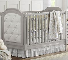 Blythe Crib #pbkids Vintage-inspired crib. With pin-tucked upholstery, artful molding and turned wood legs,