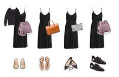 Black Sundress Styled 4 Ways .#capsule #wardrobe #styling