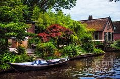 Idyllic Venice of the North by Jenny Rainbow.  Giethoorn, also known as the Venice of Holland or theVenice of the North, is a beautiful village in the Netherlands. There are no cars or roads here.