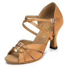 Kevin Fashion Womens Hot Bronze Satin Tango Ballroom Latin Dance Shoes 7 M US *** Check out the image by visiting the link.
