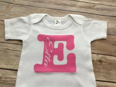 Girls Name Initial One Piece or Shirt (Custom Text Colors/Wording)