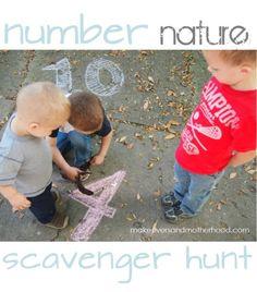 number nature scavenger hunt - Makeovers and Motherhood Preschool Math Games, Math Activities For Kids, Preschool Lessons, Math For Kids, Hands On Activities, Fun Math, Nature Scavenger Hunts, Scavenger Hunt For Kids, Emergent Literacy