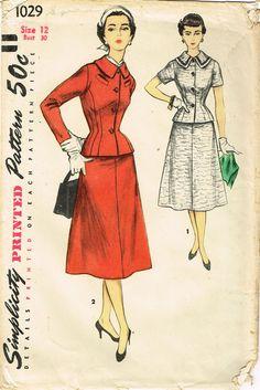 1950s Vintage Simplicity Sewing Pattern 1029 Uncut Misses Peplum Suit Size 12