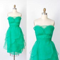 Green Organza Petal Strapless Cocktail Dress