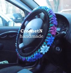 Black multicolor car cover Car Accessories Car Gifts Crochet Car Decor Wheel Gift Steering wheel Wheel cover Steering wheel cover Gift H2001