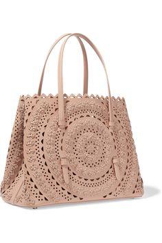 Alaia - Nude colour leather and studded, lazer cut bag.