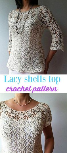Top Pattern Summer Lacy Shells Stitch For A Flattering Fit So pretty! Light and lacy crochet ladies top pattern.So pretty! Light and lacy crochet ladies top pattern. Gilet Crochet, Crochet Shirt, Crochet Jacket, Crochet Cardigan, Crochet Sweaters, Hat Crochet, Cardigan Sweaters, Crotchet, Cardigans