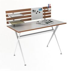 The Genius desk with hutch is a functional desk with high design. Durably constructed with 2 paper trays, a pencil holder and a magnet plate for hanging photos or notes.