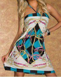 Bohemian Halter Strapless Printed Women's Mini Dress