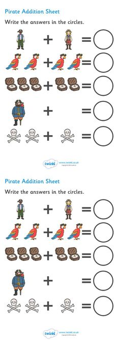 MATH ACTIVITY Twinkl Resources >> Pirate Addition Sheet >> Classroom printables for Pre-School, Kindergarten, Elementary School and beyond! Preschool Pirate Theme, Pirate Activities, Preschool Themes, Kindergarten Activities, Classroom Themes, Jack Le Pirate, Pirate Day, Math Worksheets, Math Resources