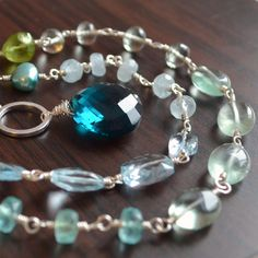 NEW Gemstone Necklace Blue Topaz Aquamarine Green by livjewellery