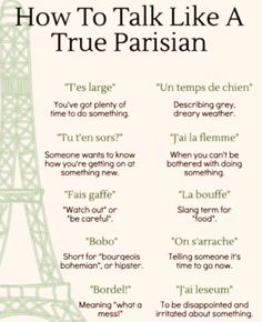 Learn French Videos Tips Student Learn French Videos Language Beginner French Slang, French Grammar, French Phrases, French Quotes, French Language Lessons, French Language Learning, Learn A New Language, French Lessons, French Expressions