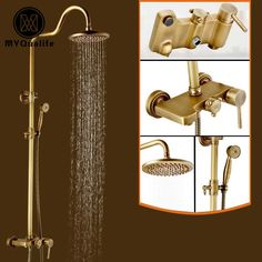 "Antique Brass Style Shower Faucet Set Single Handle Wall Mount 8"" Rainfal Shower System Mixer Taps #Affiliate"