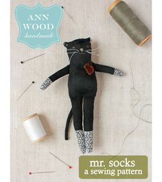 Meet Mr. Socks! He is a mischievous cat…… This is a sewing pattern (downloadable PDF) for cat rag doll (just 6 inches high).The pdf file consists of 18 pages (including the pattern sh…