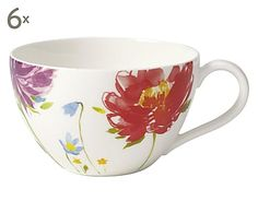 Bone China-Kaffeetassen Anmut Flowers, 6 Stück, 400 ml