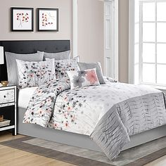 Calysta Queen Comforter Set in Coral/Grey Designer Comforter Sets, Luxury Comforter Sets Queen, Cheap Comforter Sets, Bedroom Comforter Sets, King Size Comforter Sets, King Size Comforters, Cheap Bed Sheets, Teen Bedding, Bedding Sets Online