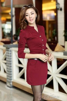 Distinctive Long Sleeves Single-breasted Stand Collar Belt OL Style Slim Dress