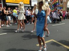 Great dresses and shoes at the Brighton Gay Pride procession 2014