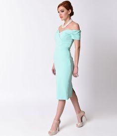 Vintage 1950s Style Mint Crepe Off Shoulder Fatale Wiggle Dress