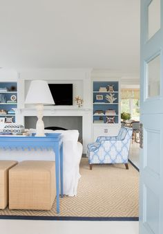 blue & white beach house living room by Elena Phillips Interiors