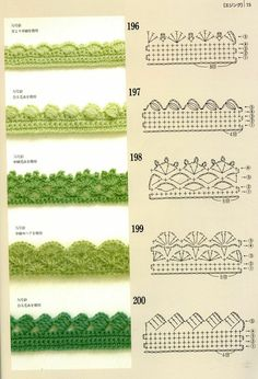 Crochet Edgings with pattern charts. Loads of crochet Motifs, flowers & beautifu… Crochet Edgings with pattern charts. Loads of crochet Motifs, flowers & beautiful Edging patterns at site ! Crochet Boarders, Crochet Lace Edging, Crochet Motifs, Crochet Diagram, Crochet Chart, Crochet Trim, Love Crochet, Easy Crochet, Crochet Stitches