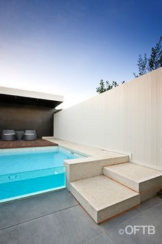 OFTB Melbourne landscaping, pool design & construction project - plunge pool inc. window, pool lounge inc. canopy, service area inc. bathroom, entertaining terrace inc. extended eve & bbq, garden beds