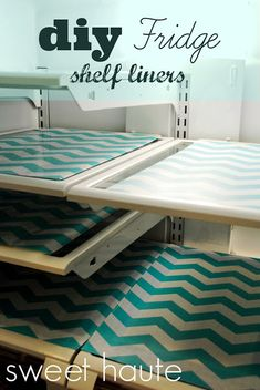 DIY Fridge Liners Tutorial: SWEET HAUTE Blog. Chevron print fridge mats that line the glass surfaces of your refrigerator. Pin now...read later