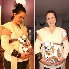 20 Halloween Costumes That'll Make You Low-Key Jealous You Aren't Pregnant Pregnancy Announcement, Pregnancy Early Halloween Costumes You Can Make, Couples Halloween, Pregnant Halloween Costumes, Maternity Halloween, Pregnant Couple Halloween Costumes, Star Wars Halloween, Halloween Fun, Halloween Customs, Halloween Office