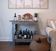 Bar Cart with Faux Metal Paint Finish