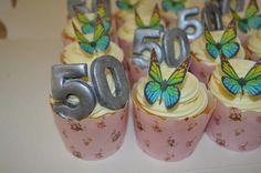50th cupcakes. Edible butterflies.