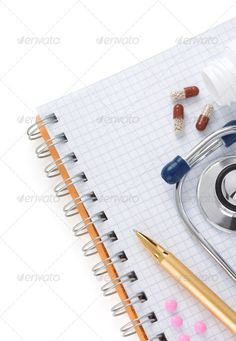 stethoscope with pills and notebook ...  background, blank, blisters, blue, book, bottle, capsules, cardiology, care, check, checked, closeup, copy space, device, diagnostic, education, emergency, examination, form, health, heartbeat, hospital, instrument, isolated, medical, medicine, notebook, notepad, pad, pen, pills, profession, research, science, sterile, stethoscope, tablet, test, tool, treatment, white, yellow