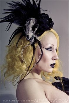 DeathGlam black princess raccoon skull fascinator - MADE TO ORDER. $90.00, via Etsy.