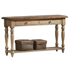 Found it at Wayfair - Quails Run Console Table in Almond & Wheathttp://www.wayfair.com/daily-sales/p/Living-Room-Clearance-Quails-Run-Console-Table-in-Almond-%26-Wheat~WXQ1248~E12995.html?refid=SBP.rBAZEVOKUltM7x6JqzPWAhnZaYNwckZ3kOC2amnyuC0