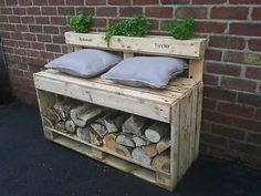 Log store bench with herb garden. Garden Pods, Herb Garden, Camping Pod, Log Store, Baby Items, Landscape Design, Brick, Projects To Try, New Homes