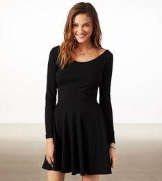 AE Effortlessly Chic Skater Dress in Black
