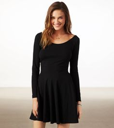 AE Effortlessly Chic Skater Dress in Black - NEED THIS!