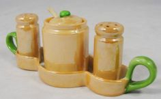 Vintage Orange Green Lustreware Japan Ceramic Salt Pepper Shaker Condiment Set | eBay