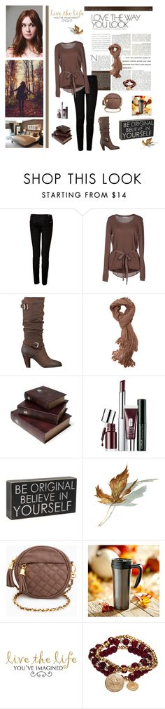 """""""brown top black jeans"""" by girlfromfrance ❤ liked on Polyvore featuring GE, 7 For All Mankind, Tuanua, GUESS, Walnut Melbourne, Amrita Singh, Clinique and Bee Charming"""