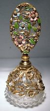 UNUSUAL Vintage ORMOLU & ENAMEL Glass & Metal PERFUME or SCENT BOTTLE~Matson?