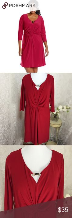 """NY Collection Women's Plus-Size Solid 3/4 Sleeve NY Collection Women's Plus-Size Solid 3/4 Sleeve Scoop Neck Dress with Trim At Keyhole and Knot At Front, Jester Red. 95% Polyester, 5% Spandex. 23"""" across armpit to armpit 37"""" long NY Collection Dresses Midi"""
