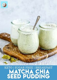 Looking to make a healthy breakfast that isnt just eggs? This keto matcha chia seed pudding is a dairy free alternative to a keto breakfast option Chia Pudding Coconut Milk, Matcha Chia Seed Pudding, Chia Seed Smoothie, Keto Chia Pudding, Low Carb Meal Plan, Low Carb Dinner Recipes, Low Carb Desserts, Keto Recipes, Keto Chia Seed Recipes