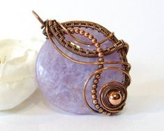 Amethyst Wire Wrapped Pendant, Sterling Silver Amethyst Pendant, Oxidized Copper or Gold Filled Fancy Wire Weave Necklace, Handmade Jewelry