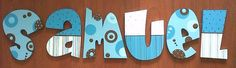 Nombres Cardboard Letters, Painted Letters, Wood Letters, Letters And Numbers, Hand Painted, Baby Door Hangers, Creative Names, Arte Country, Baby Name Signs