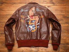 — nose art jacket painting Ww2 Bomber Jacket, Bomber Jackets, Military Jackets, Leather Flight Jacket, Leather Jackets, Leather Fashion, Mens Fashion, Painted Leather Jacket, Painting Leather