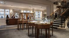 Nulty - William & Son, Mayfair - British Luxury Retailer Illumination Stylish Wooden Display Cases Staircase